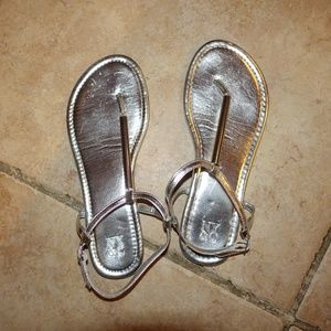 New York & Company Flat Sandals - Silver - Size 6